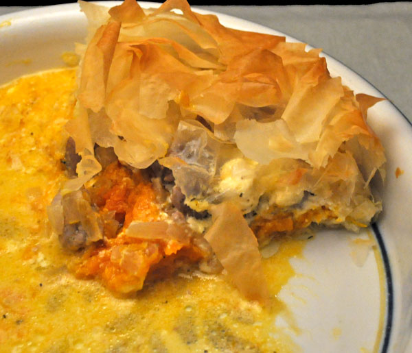 Sausage and Butternut Squash Phyllo Pie