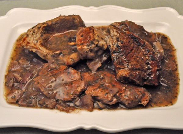 Lamb Steaks in Red Wine