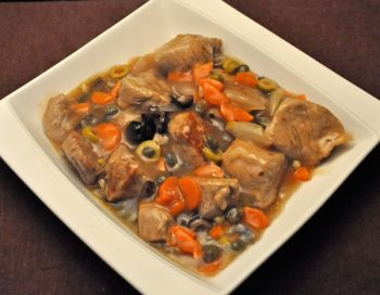 Braised Veal, Carrots, Olives and Capers