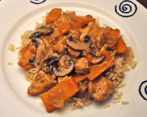 Stir-Fried Chicken and Pumpkin