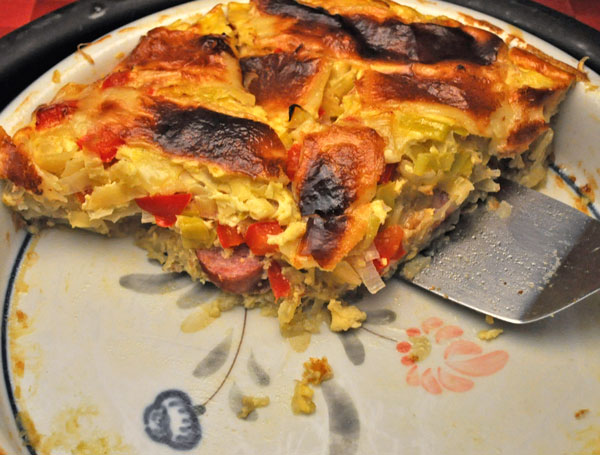 Sausage, Leek, and Red Pepper Quiche