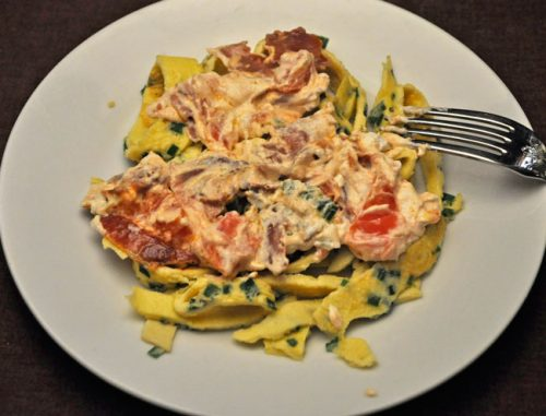 Egg Noodles with Goat Cheese