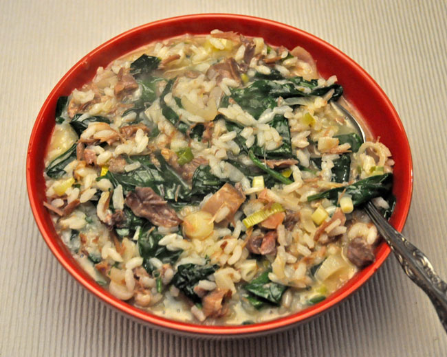 Spinach Risotto with Duck Confit