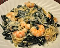 Spaghetti with Shrimp, Spinach
