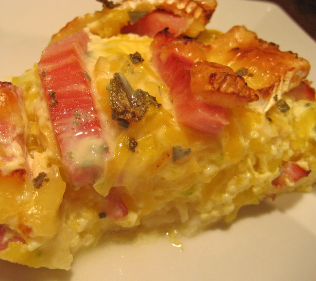 Butternut Squash and Ham Quiche