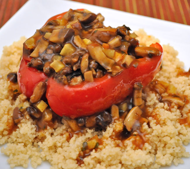 Stuffed Red Peppers, Moroccan Style