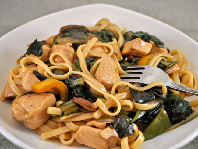 Chicken, Chard and Mushroom Lo Mein