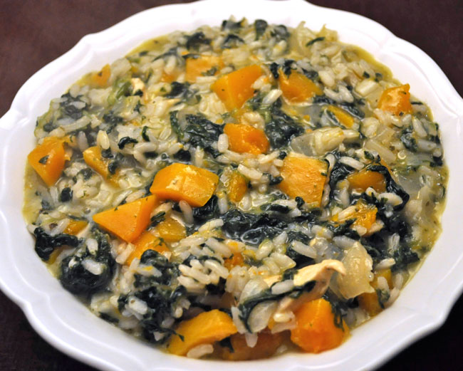 Chicken, Spinach and Butternut Squash Risotto
