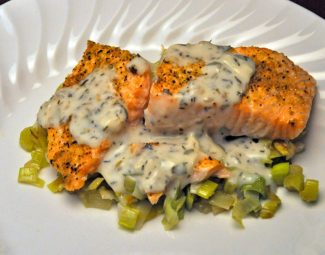 Salmon on Leeks