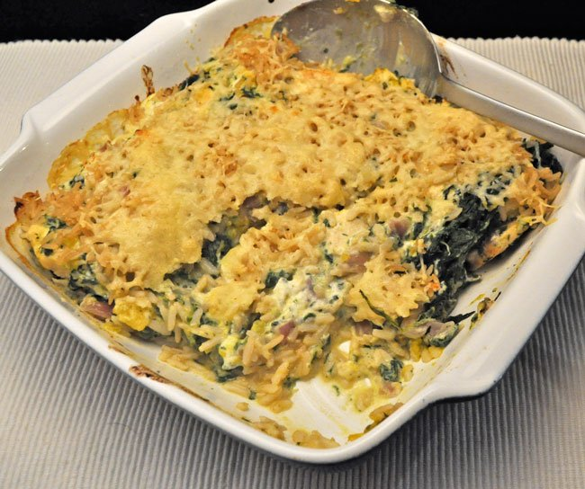 Chicken, Spinach and Rice Gratin