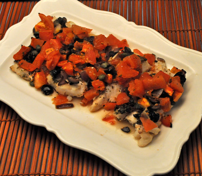 Baked Cod with Capers, Tomatoes