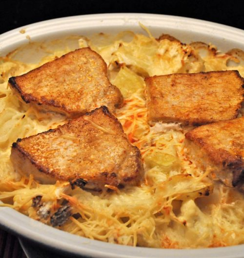 Cauliflower, Potato, Pork Chop Gratin