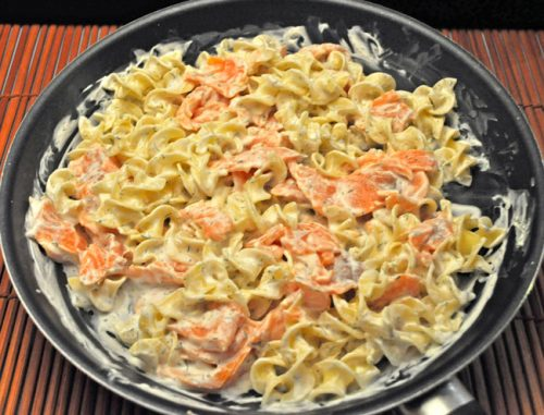 Smoked Salmon on Egg Noodles