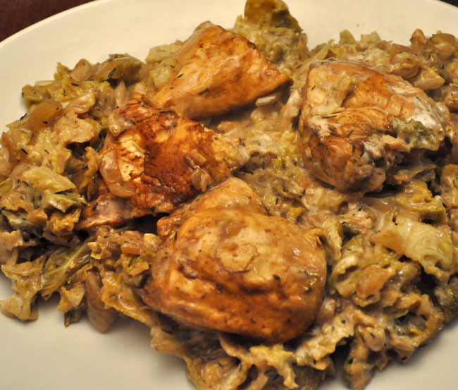 Chicken and Cabbage, Balsamic Yogurt Sauce