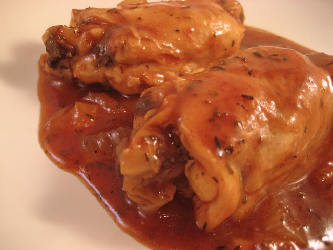 Chicken Thighs with White Wine Sauce