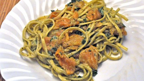 Pesto Pasta with Smoked Salmon