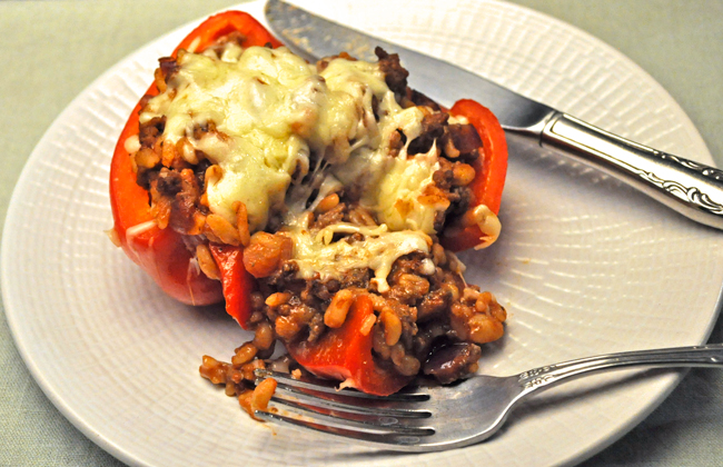 Red Peppers, with Beef & Barley