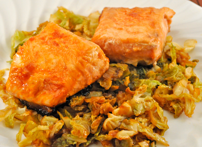 Skillet Salmon with Stir-Fried Cabbage