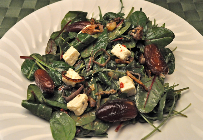 Spring Greens with Dates and Feta