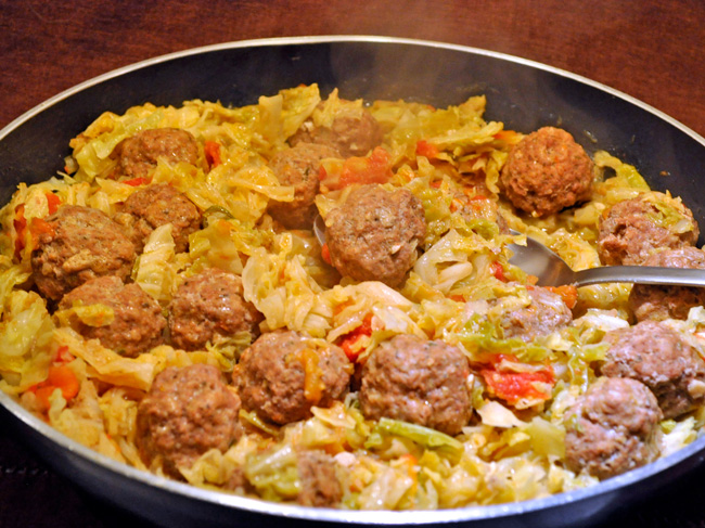 Meatball & Cabbage Skillet