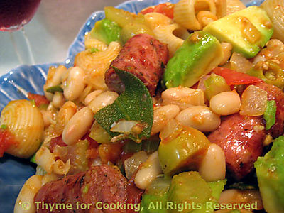 Pasta with Sausage, Sage and Avocado
