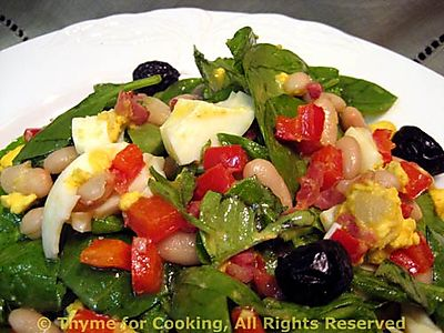 Spinach White Bean and Red Pepper Salad