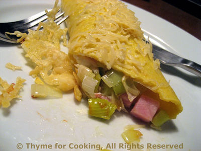Egg Crepes with Leeks and Ham