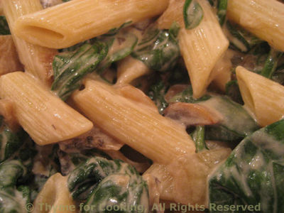 Pasta with Spinach, Mushrooms and Chevre