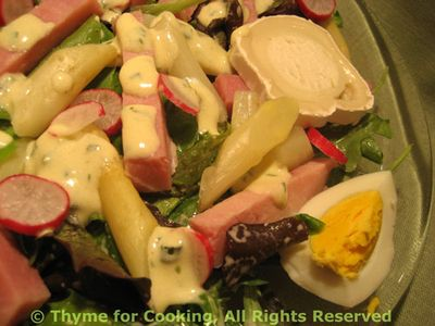 Spring Greens Salad with Ham and Asparagus