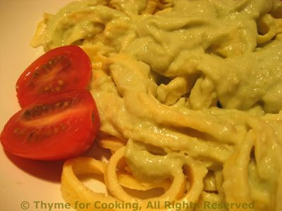 Egg linguini with Warm Avocado Sauce