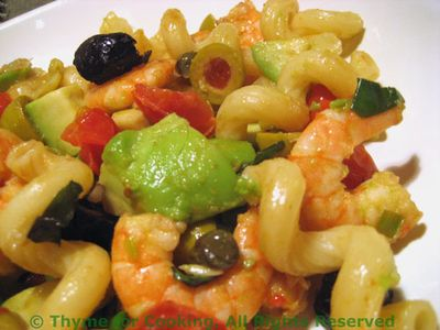 Shrimp Avocado and Olive Pasta