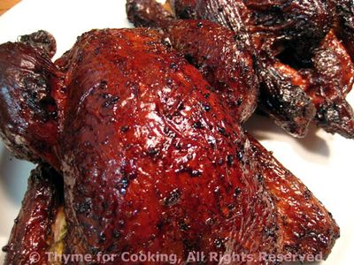 Grilled Cornish Hens with Molasses Glaze