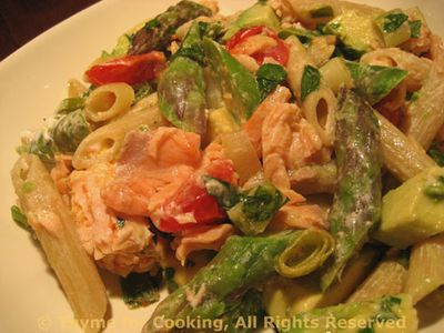 Salmon Smoked Salmon, Avocado and Asparagus Pasta