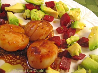 Scallops with Avocado and Beet Salad