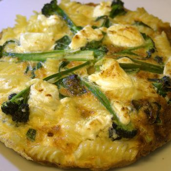 Pasta-Spring-greens-purple-sprouting-and-goats-cheese-frittata