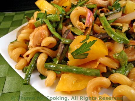 Pasta with Chicken, Green Beans and Tomatoes; Peanut Dressing