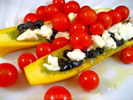 Baby Zucchini stuffed with Olives and Feta