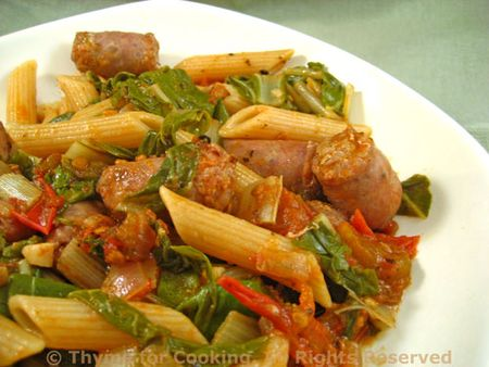 Pasta with Sausage, Tomatoes and Chard