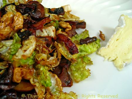 Savoy Cabbage Walnut and Mushroom Salad