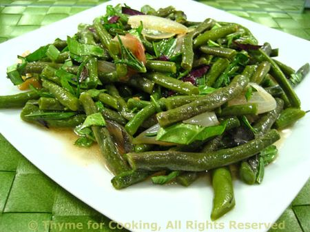 Purple and Green Beans cooked with Basil