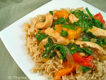 Stir-Fried Turkey with Spinach and Tomatoes