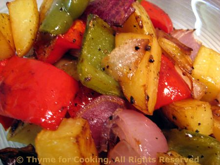 Grilled Potatoes Onions and Pepprs