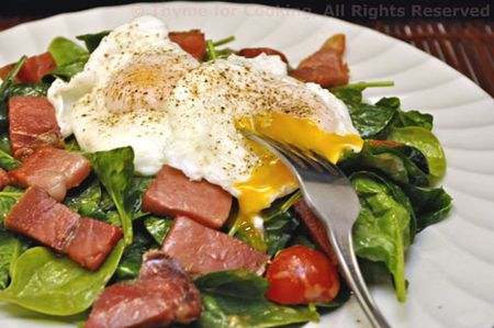 Poached Eggs, Prosciutto and Spinach
