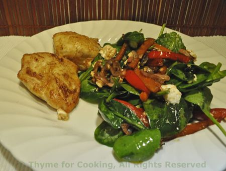 Chicken, Spinach, Red Pepper Salad