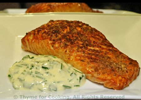Grilled Salmon with Chive Sauce