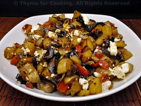 Potatoes, Peppers, Olives and Feta