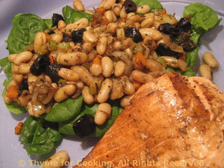 Salmon, Warm Bean Salad