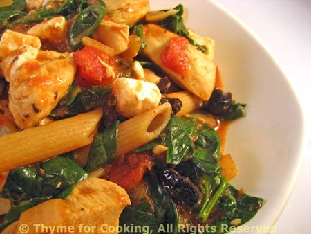 Pasta with Chicken, Spinach, Feta
