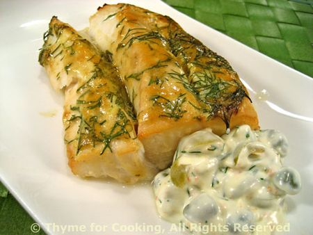 Cod with Dill and Caper Sauce