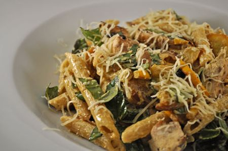 Pasta Salad with Chicken, Spinach, Squash and Basil